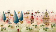 Water Lilies Art - The Dream Cat 07 by Kestutis Kasparavicius