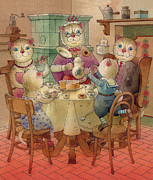 Morning Breakfast Posters - The Dream Cat 08 Poster by Kestutis Kasparavicius