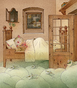 Green Drawings Posters - The Dream Cat 10 Poster by Kestutis Kasparavicius