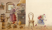 Breakfast Drawings Prints - The Dream Cat 12 Print by Kestutis Kasparavicius