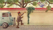 Green Drawings Originals - The Dream Cat 15 by Kestutis Kasparavicius