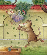 Green Drawings Posters - The Dream Cat 16 Poster by Kestutis Kasparavicius