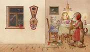 Evening Drawings Framed Prints - The Dream Cat 20 Framed Print by Kestutis Kasparavicius