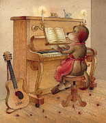 Guitar Drawings Posters - The Dream Cat 21 Poster by Kestutis Kasparavicius