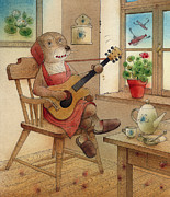 Guitar Drawings Posters - The Dream Cat 22 Poster by Kestutis Kasparavicius