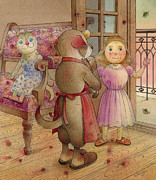 Girl Drawings Posters - The Dream Cat 23 Poster by Kestutis Kasparavicius