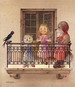 Bird Drawings Metal Prints - The Dream Cat 24 Metal Print by Kestutis Kasparavicius