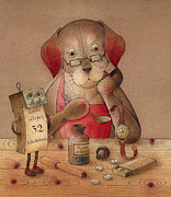Dog Drawings Prints - The Dream Cat 25 Print by Kestutis Kasparavicius