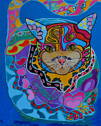 Christian Artwork Painting Originals - The Dream Cat by Stacey Robinson