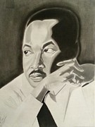 Martin Luther King Jr Drawings Prints - The Dreamer The Believer Print by Jewann Hunt