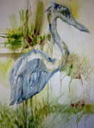 Yellow Beak Paintings - The Dripping Heron by Donna Acheson-Juillet