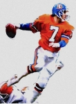 Football Drawings Framed Prints - The Drive  John Elway Framed Print by Iconic Images Art Gallery David Pucciarelli