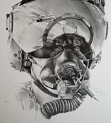 Fighter Jet Drawings - The driver by James Baldwin Aviation Art