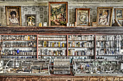 Vintage Cash Register Framed Prints - The Drug Store Counter Framed Print by Ken Smith