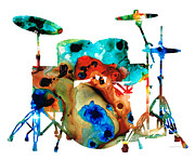 Musical Mixed Media Prints - The Drums - Music Art By Sharon Cummings Print by Sharon Cummings