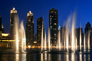 United Arab Emirates Prints - The Dubai Fountains Print by Fabrizio Troiani