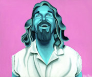 White Russian Painting Posters - The Dude Poster by Ellen Patton
