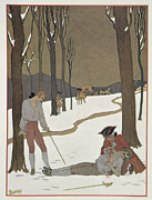 Buddies Paintings - The Duel between Valmont and Danceny by Georges Barbier