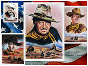 Celebrity Portraits Drawings Posters - The Duke American Legend Poster by Andrew Read