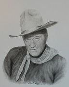 John Wayne Drawings Framed Prints - The Duke Framed Print by Brent  Mileham