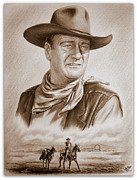 John Wayne Drawings Posters - The Duke Captured sepia grain Poster by Andrew Read