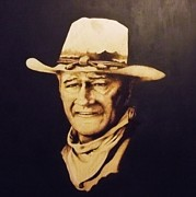 John Wayne Pyrography Posters - The Duke  Poster by Freddy  Smith