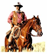 Lithograph Drawings Prints - The Duke  John Wayne Print by Iconic Images Art Gallery David Pucciarelli