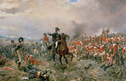 Soldier Paintings - The Duke of Wellington at Waterloo by Robert Alexander Hillingford