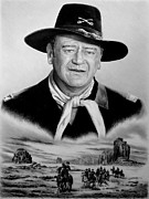 John Wayne Drawings Framed Prints - The Duke U S Cavalry  soft edit Framed Print by Andrew Read