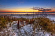 Sand Fences Posters - The Dunes at Sunset Poster by Debra and Dave Vanderlaan