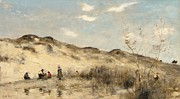 Figures Painting Posters - The Dunes of Dunkirk Poster by Jean Baptiste Camille Corot