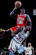 Michael Jordan Prints - The Dunk Print by Don Medina