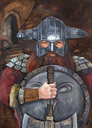 Story Telling Art Prints - The Dwarven Guard Print by J W Baker
