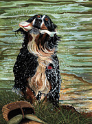 Dog Swimming Paintings - The Early Berner Catcheth by Liane Weyers