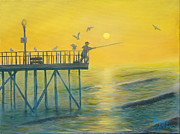 Pier Paintings - The Early Rod Takes the Cod by Ryan Williams