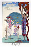 Print Dress Posters - The Earth Poster by Georges Barbier