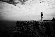 Irish Folklore Prints - The East Light lighthouse Altacarry Altacorry head Rathlin Island against blue sea and blue cloudy s Print by Joe Fox