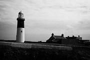 Irish Folklore Prints - The East Light lighthouse and buildings Altacarry Altacorry head Rathlin Island against grey cloudy  Print by Joe Fox