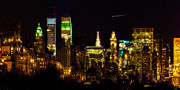 New York City Skyline Digital Art Posters - The East Side at Night Poster by Chris Lord