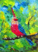 Red Prints - The Eccentric Bird Print by Mario  Perez