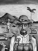 Overalls Painting Posters - The Eccentric Farmer bw Poster by Leah Saulnier The Painting Maniac
