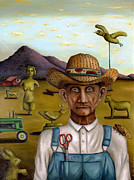 John Deere Paintings - The Eccentric Farmer edit 2 by Leah Saulnier The Painting Maniac