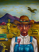 Overalls Painting Posters - The Eccentric Farmer edit 4 Poster by Leah Saulnier The Painting Maniac