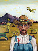 John Deere Paintings - The Eccentric Farmer Edit 5 by Leah Saulnier The Painting Maniac