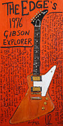 U2 Painting Metal Prints - The Edge Gibson Explorer Metal Print by Karl Haglund