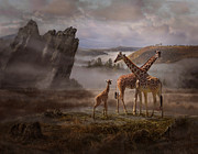 Giraffe Digital Art Originals - The Edge of the Earth by Melinda Hughes-Berland