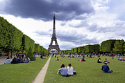 The Eiffel Tower And The Champ De Mars. Paris. France Print by Bernard Jaubert