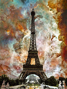 Landmarks Mixed Media Metal Prints - The Eiffel Tower - Paris France Art By Sharon Cummings Metal Print by Sharon Cummings