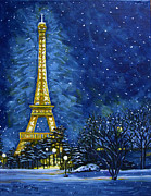 Paris Pastels Posters - The Eiffel Towers Snowy Night Poster by Carol OMalley