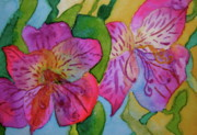 Beverley Harper Tinsley Paintings - The Electric Kool-Aid Alstroemeria Test by Beverley Harper Tinsley